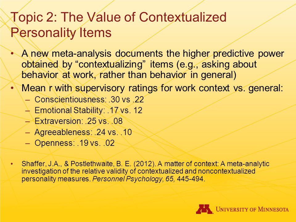 Topic 2: The Value of Contextualized Personality Items