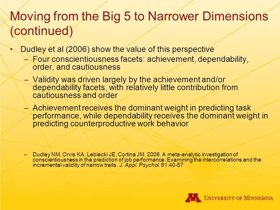 Moving from the Big 5 to Narrower Dimensions (continued)