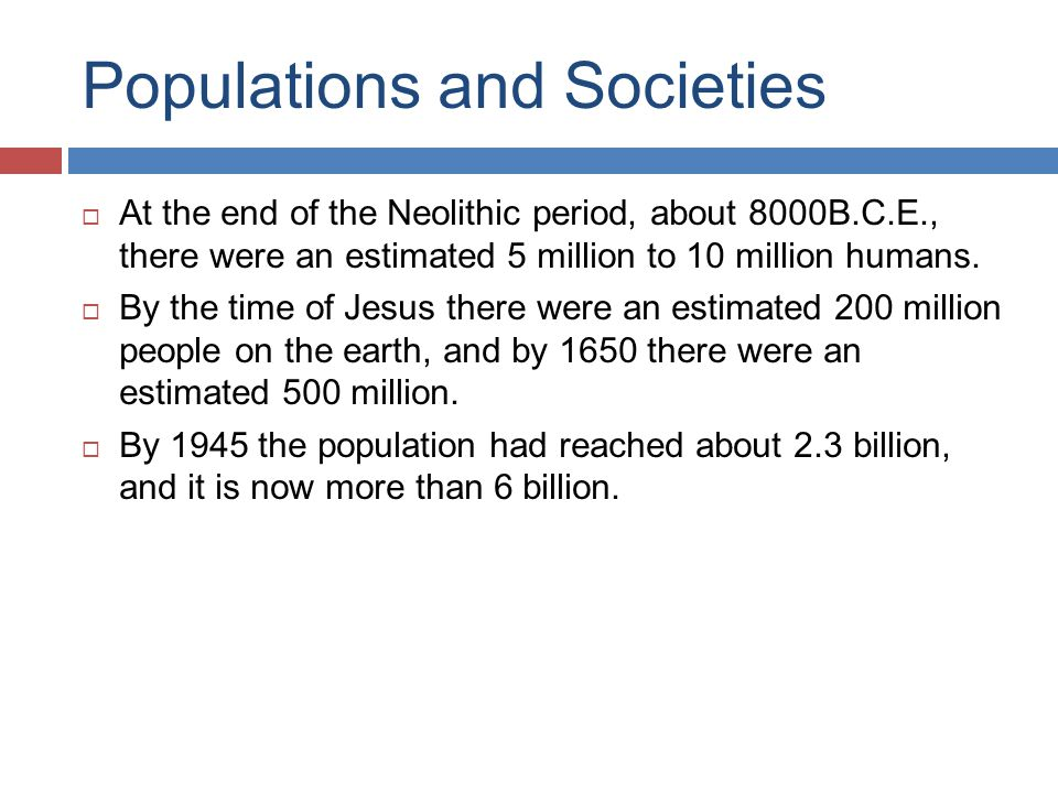 Populations and Societies