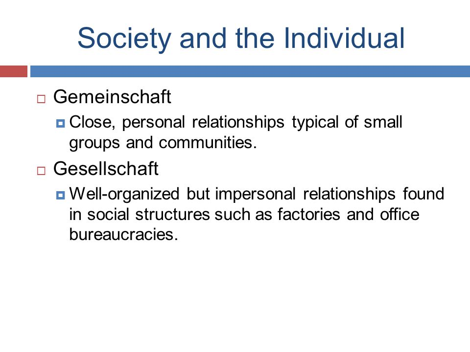 Society and the Individual