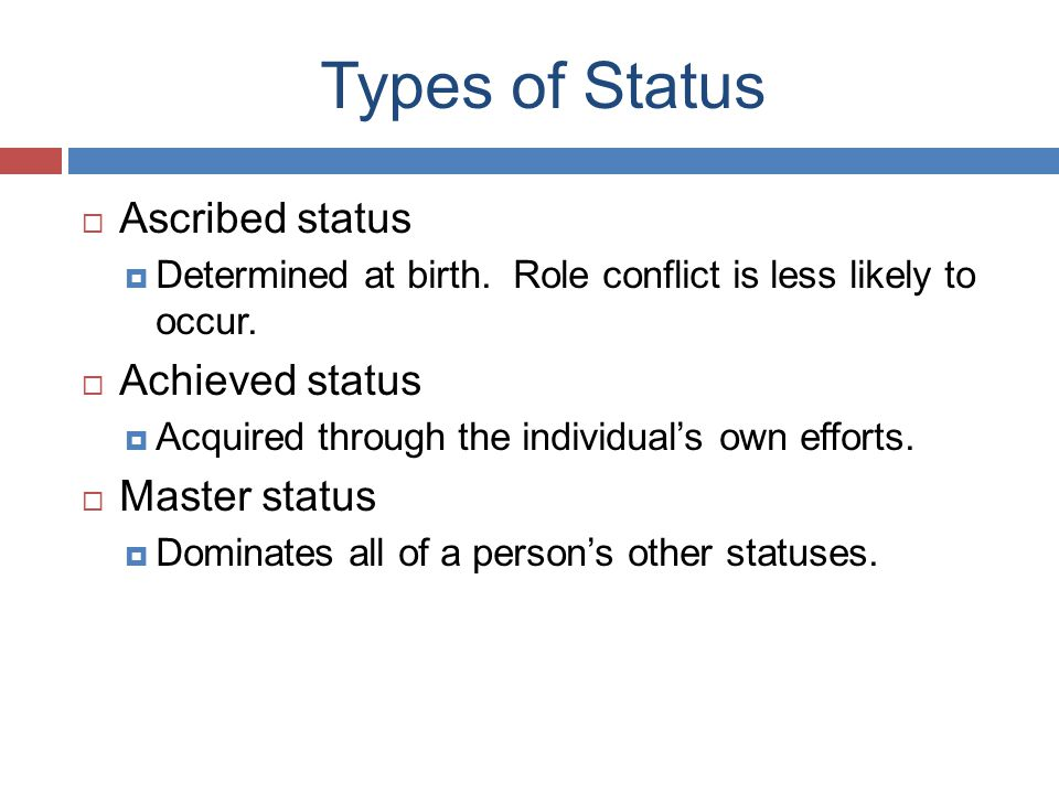 Types of Status Ascribed status Achieved status Master status