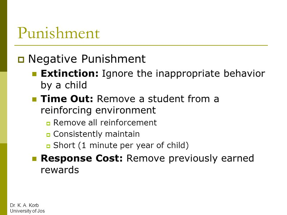 Punishment Negative Punishment