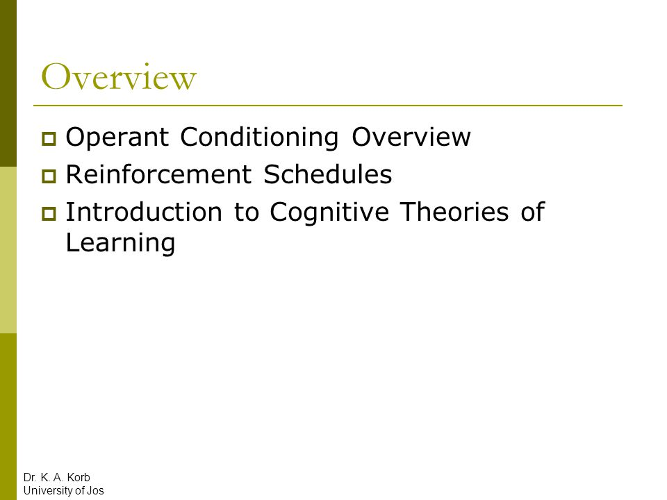 Overview Operant Conditioning Overview Reinforcement Schedules