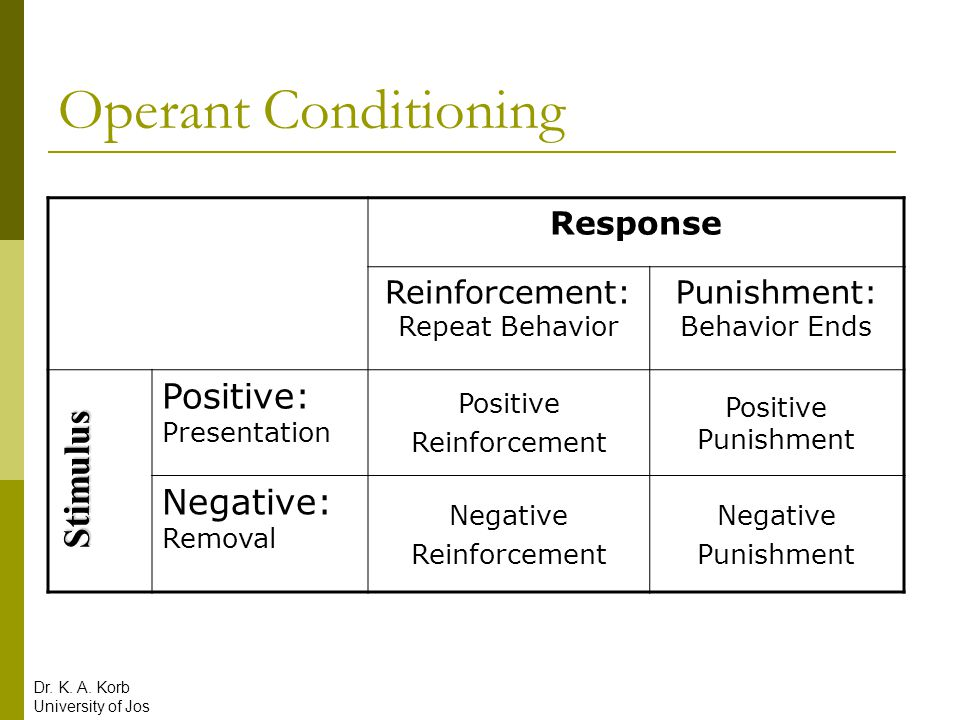 Operant Conditioning Stimulus Positive: Presentation Negative: Removal