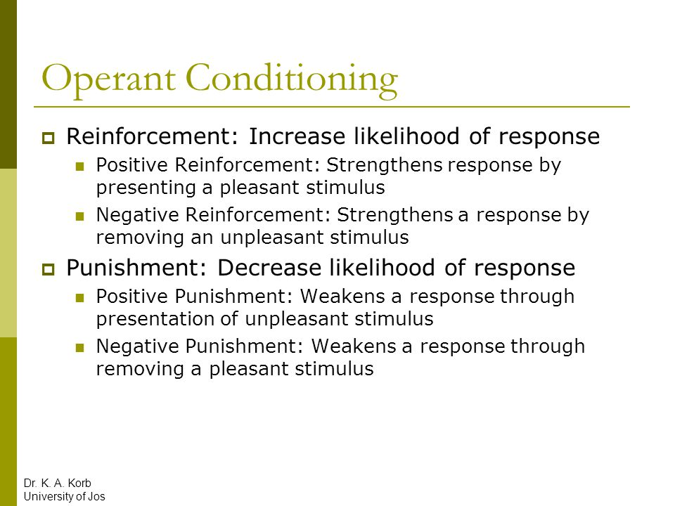 Operant Conditioning Reinforcement: Increase likelihood of response