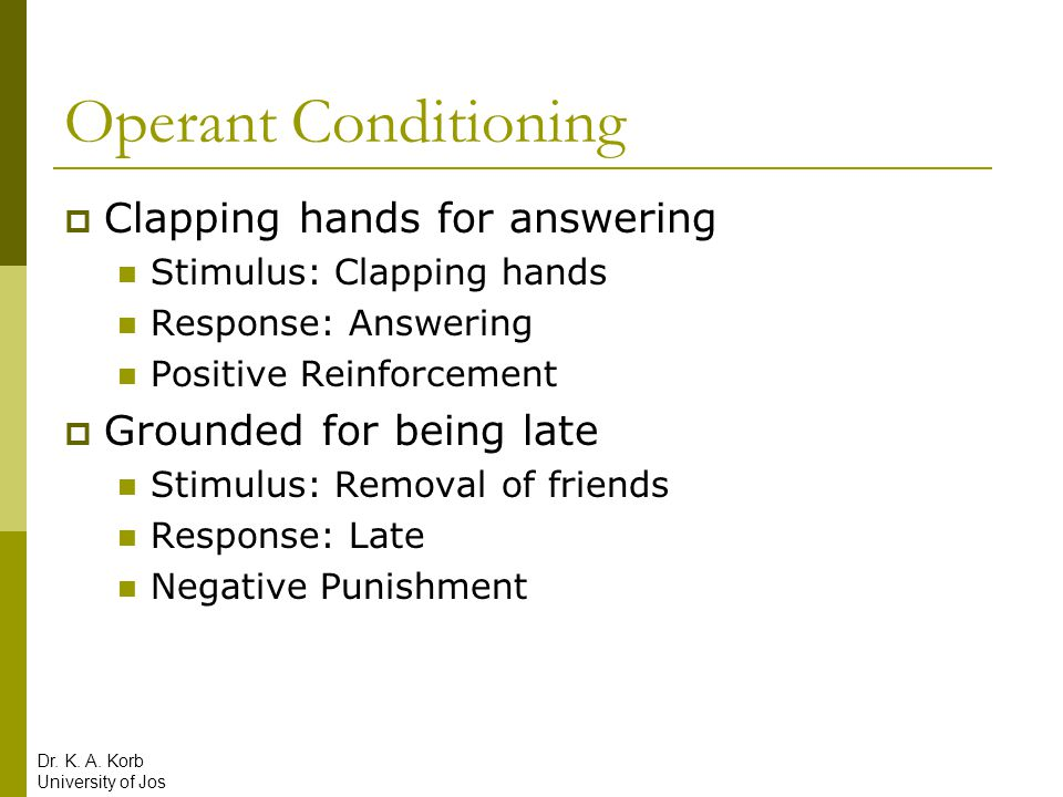 Operant Conditioning Clapping hands for answering