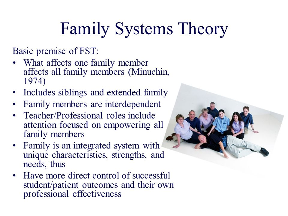 Family Systems Theory Basic premise of FST: