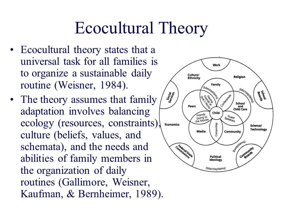 Ecocultural Theory Ecocultural theory states that a universal task for all families is to organize a sustainable daily routine (Weisner, 1984).