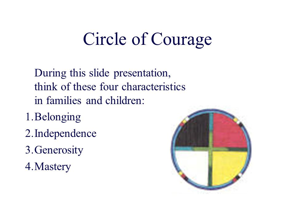 Circle of Courage During this slide presentation, think of these four characteristics in families and children: