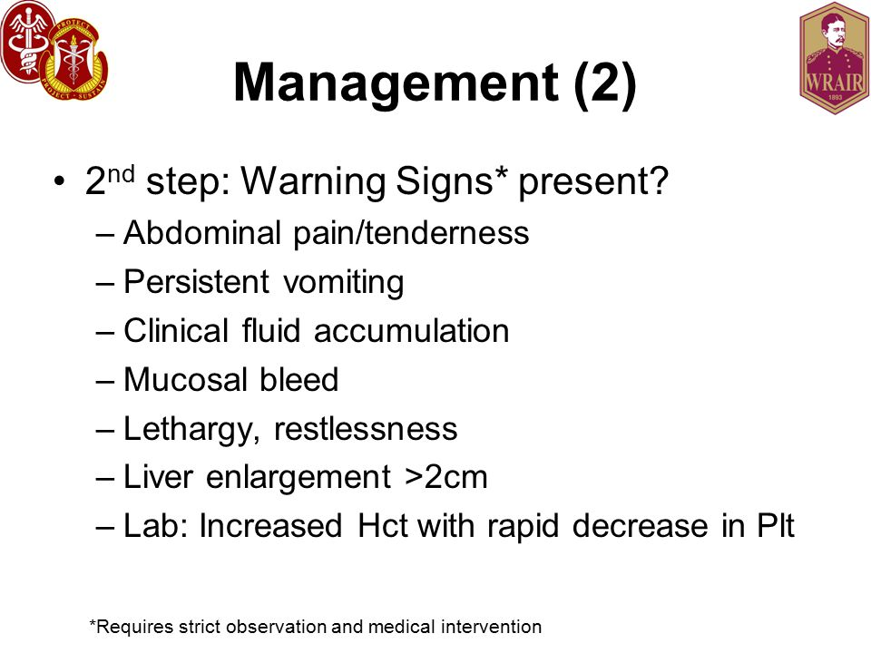 Management (2) 2nd step: Warning Signs* present