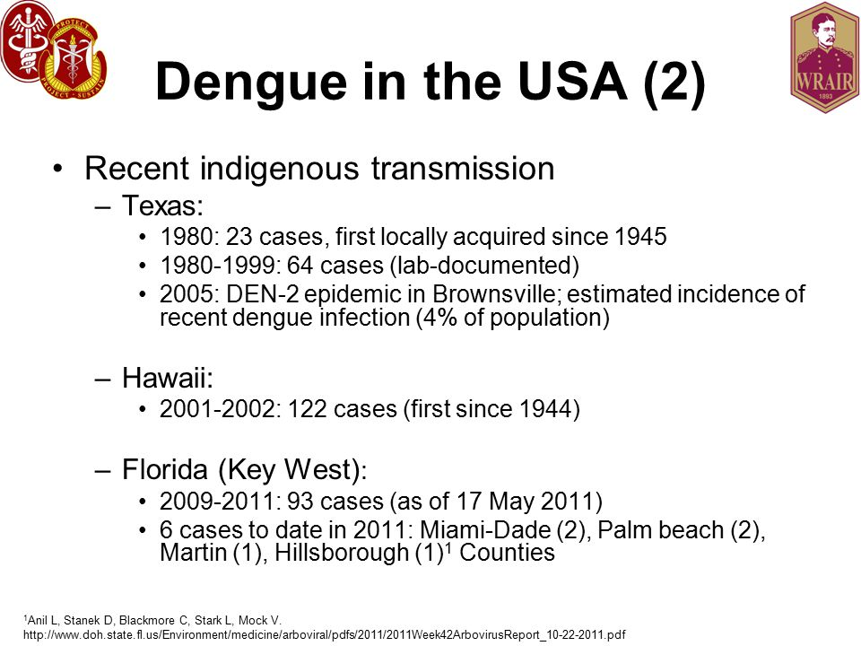 Dengue in the USA (2) Recent indigenous transmission Texas: Hawaii:
