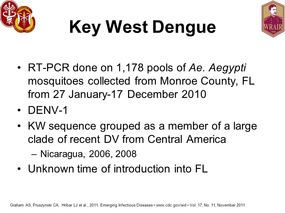 Key West Dengue RT-PCR done on 1,178 pools of Ae. Aegypti mosquitoes collected from Monroe County, FL from 27 January-17 December 2010.