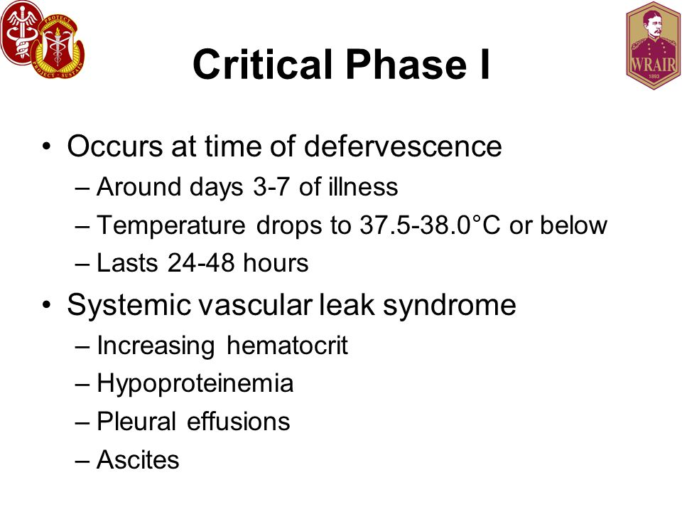 Critical Phase I Occurs at time of defervescence