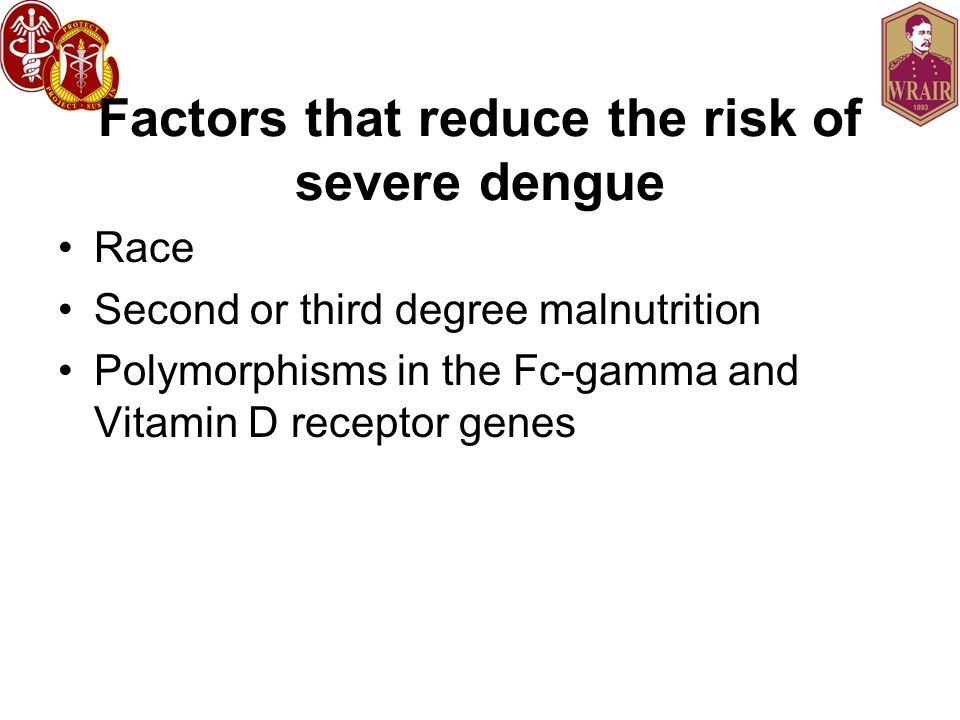 Factors that reduce the risk of severe dengue