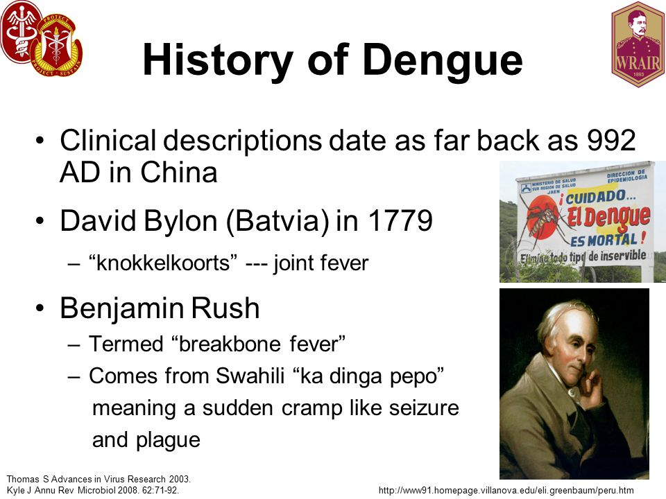 History of Dengue Clinical descriptions date as far back as 992 AD in China. David Bylon (Batvia) in 1779.