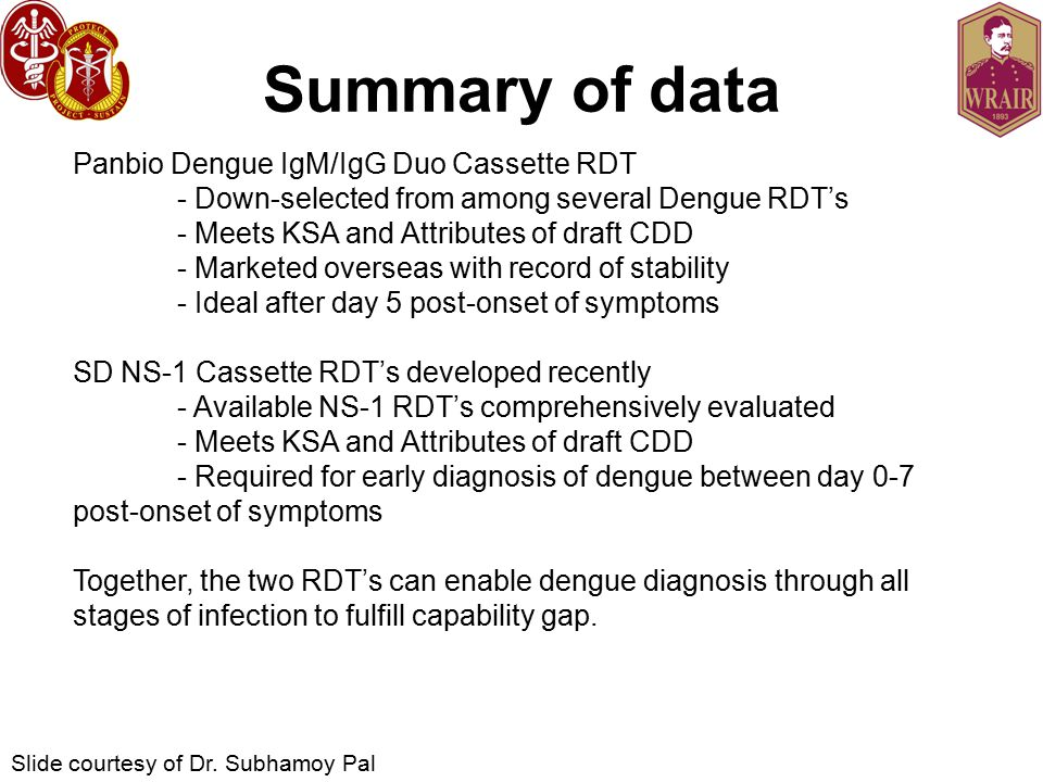 Summary of data Panbio Dengue IgM/IgG Duo Cassette RDT