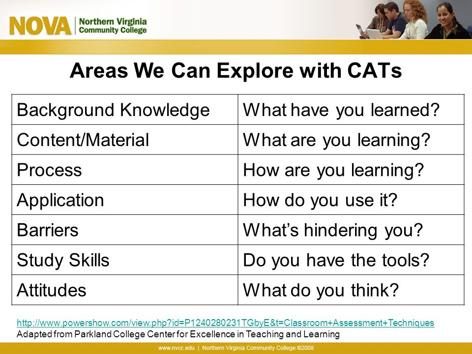 Areas We Can Explore with CATs