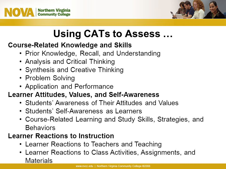 Using CATs to Assess … Course-Related Knowledge and Skills