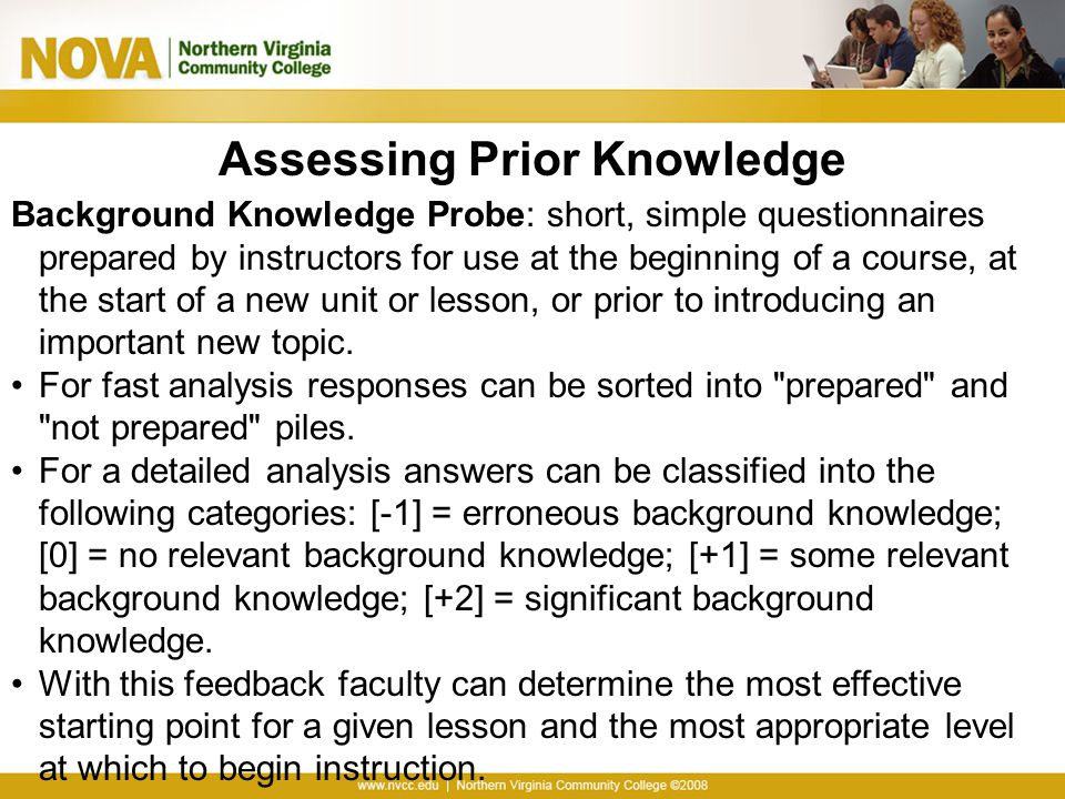 Assessing Prior Knowledge