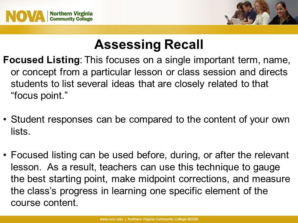 Assessing Recall