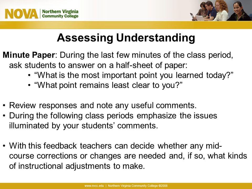 Assessing Understanding