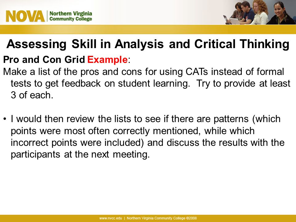Assessing Skill in Analysis and Critical Thinking