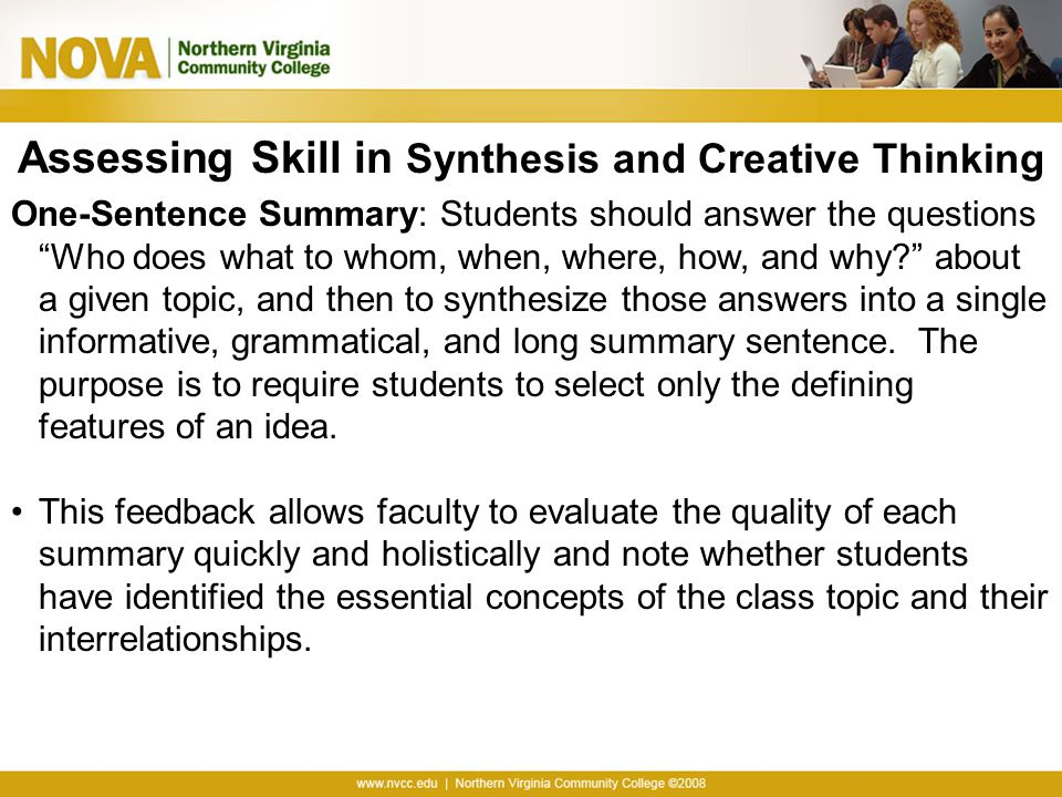 Assessing Skill in Synthesis and Creative Thinking