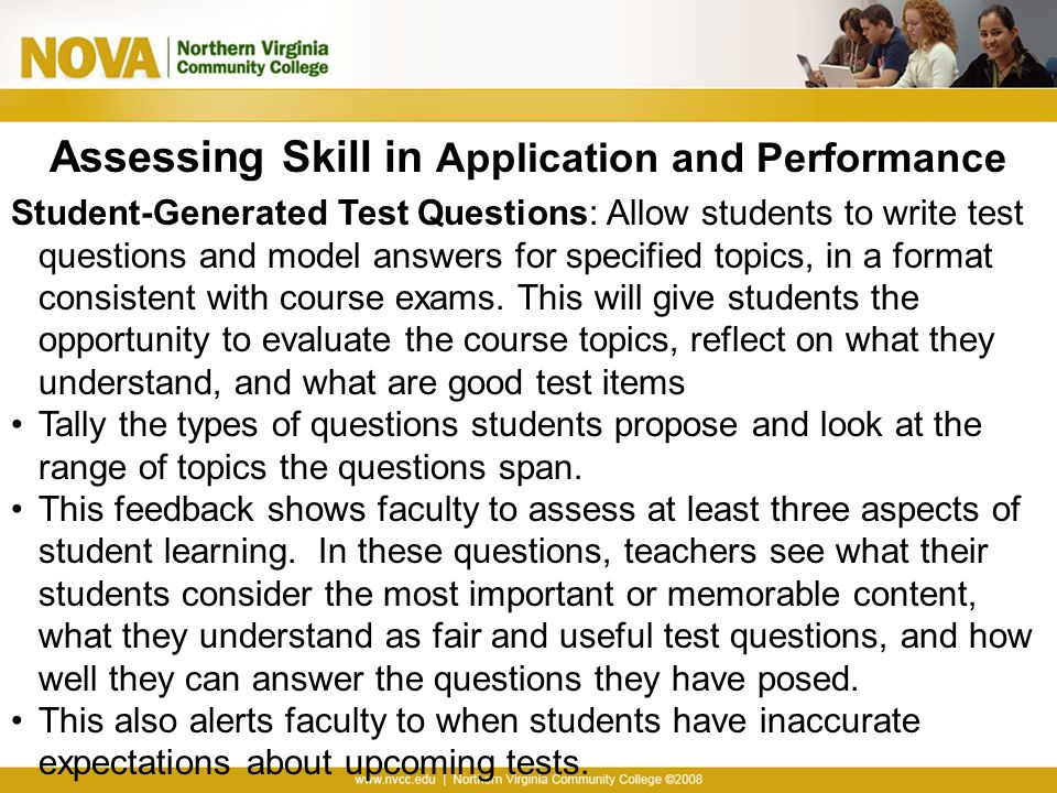 Assessing Skill in Application and Performance
