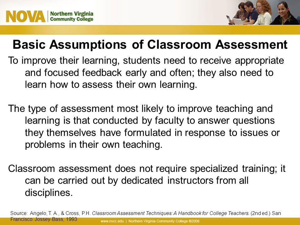 Basic Assumptions of Classroom Assessment