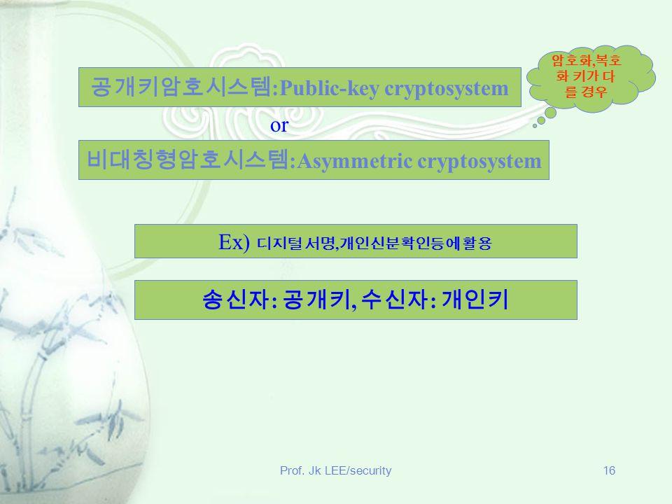 공개키암호시스템:Public-key cryptosystem 비대칭형암호시스템:Asymmetric cryptosystem