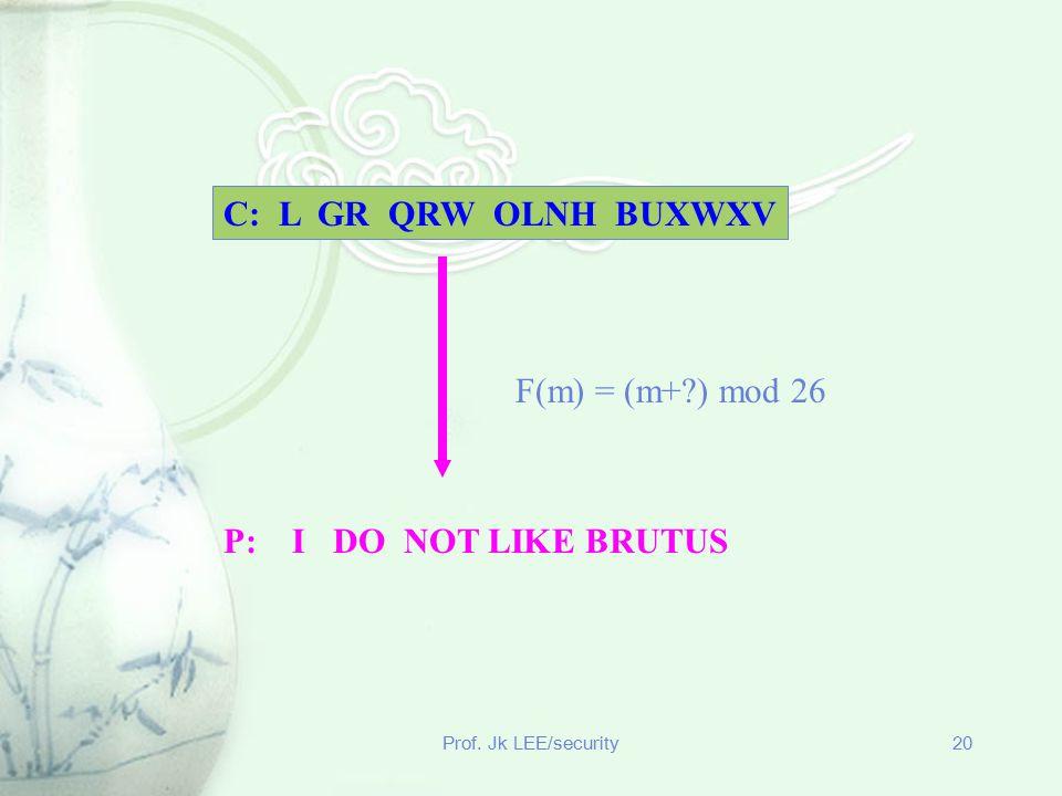 C: L GR QRW OLNH BUXWXV F(m) = (m+ ) mod 26 P: I DO NOT LIKE BRUTUS
