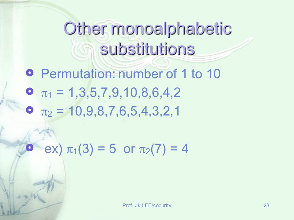 Other monoalphabetic substitutions