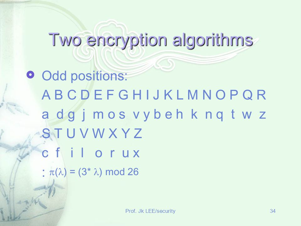 Two encryption algorithms