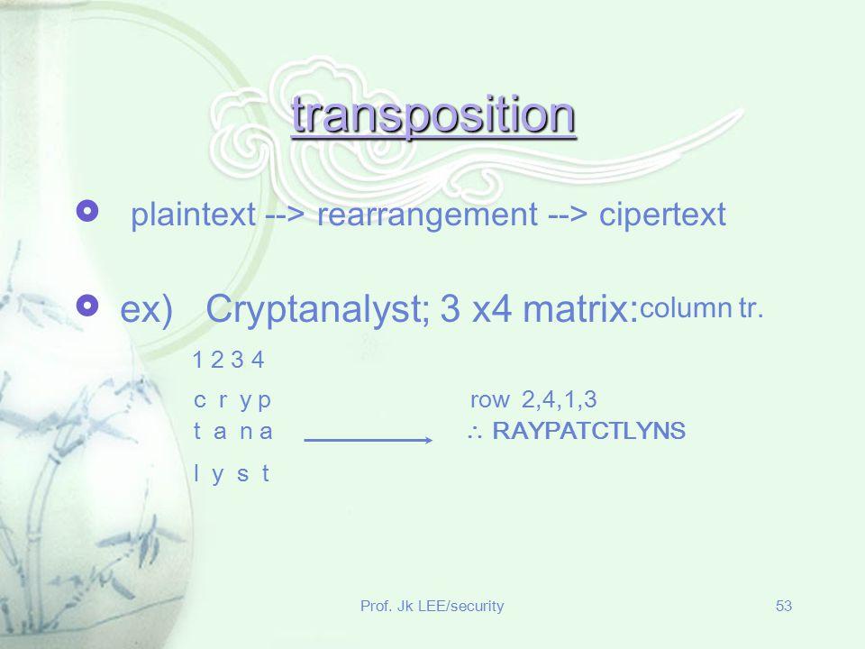 transposition plaintext --> rearrangement --> cipertext