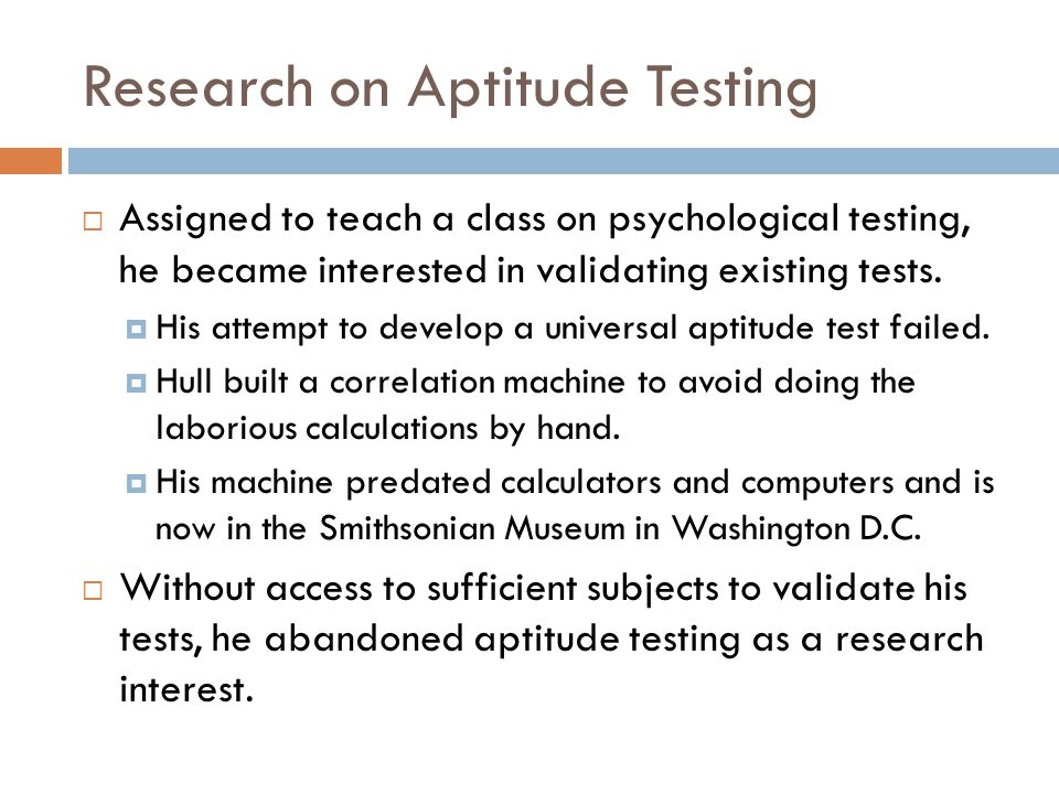 Research on Aptitude Testing