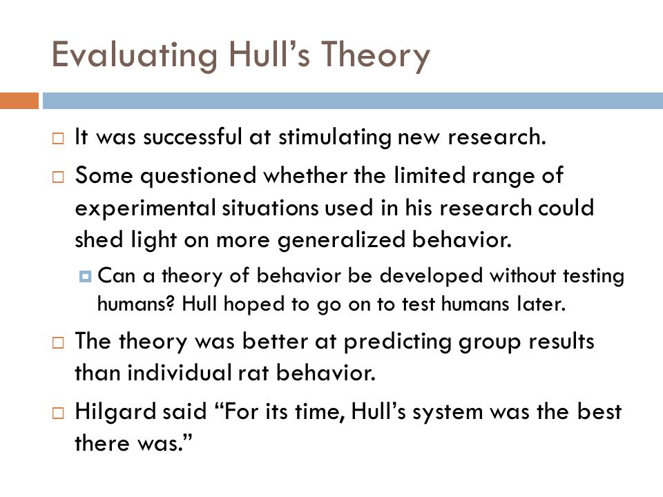 Evaluating Hull's Theory