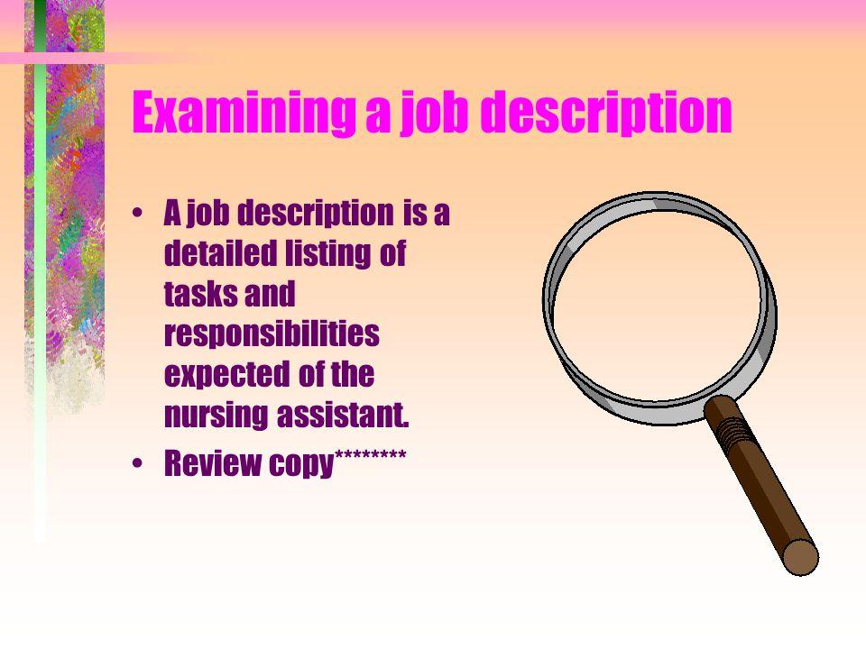Examining a job description
