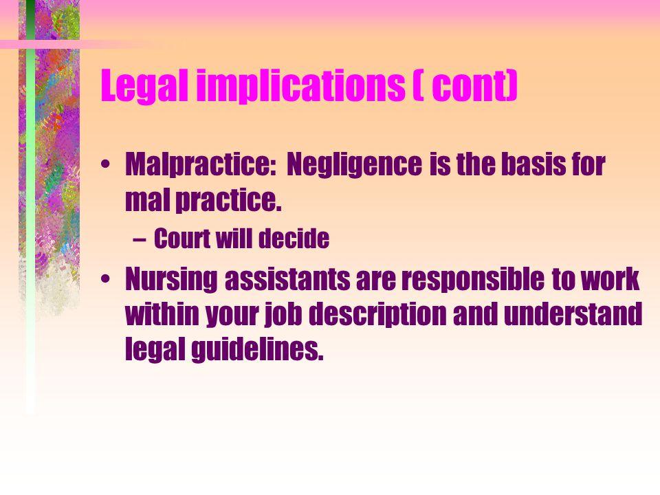 Legal implications ( cont)