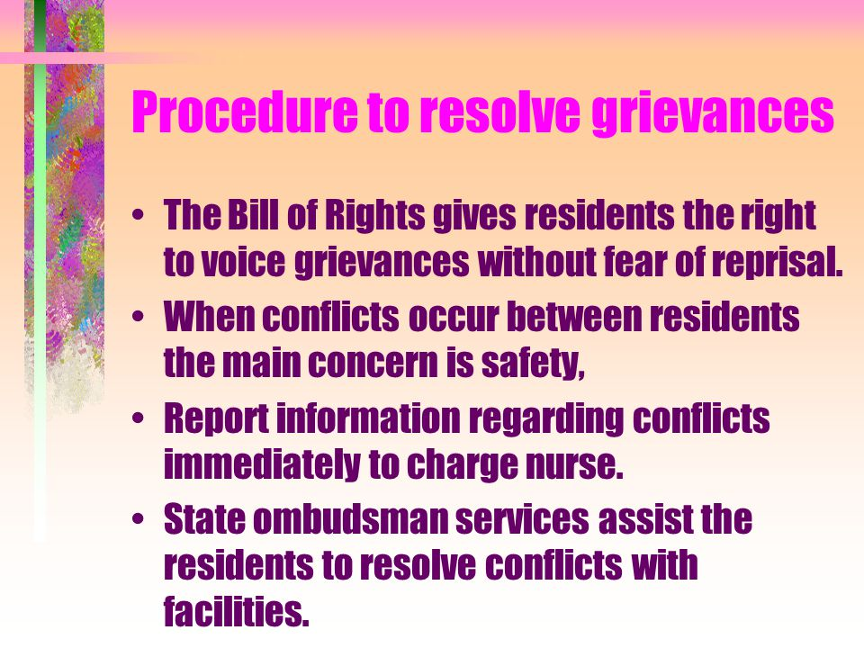 Procedure to resolve grievances