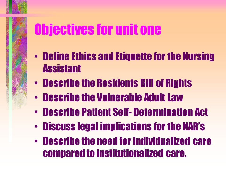 Objectives for unit one