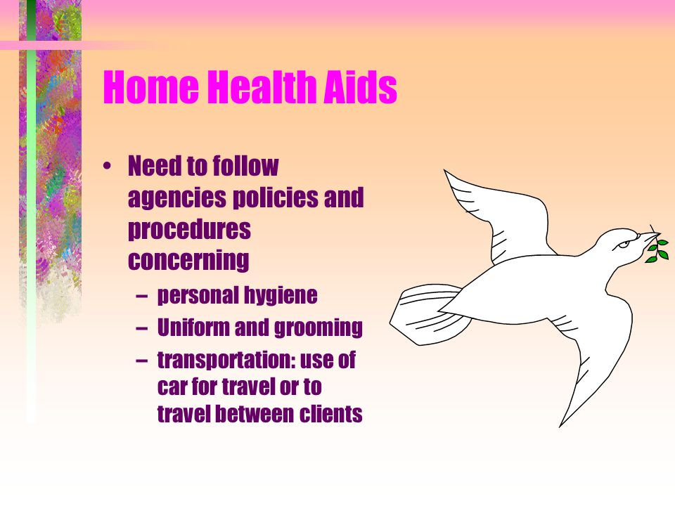 Home Health Aids Need to follow agencies policies and procedures concerning. personal hygiene. Uniform and grooming.
