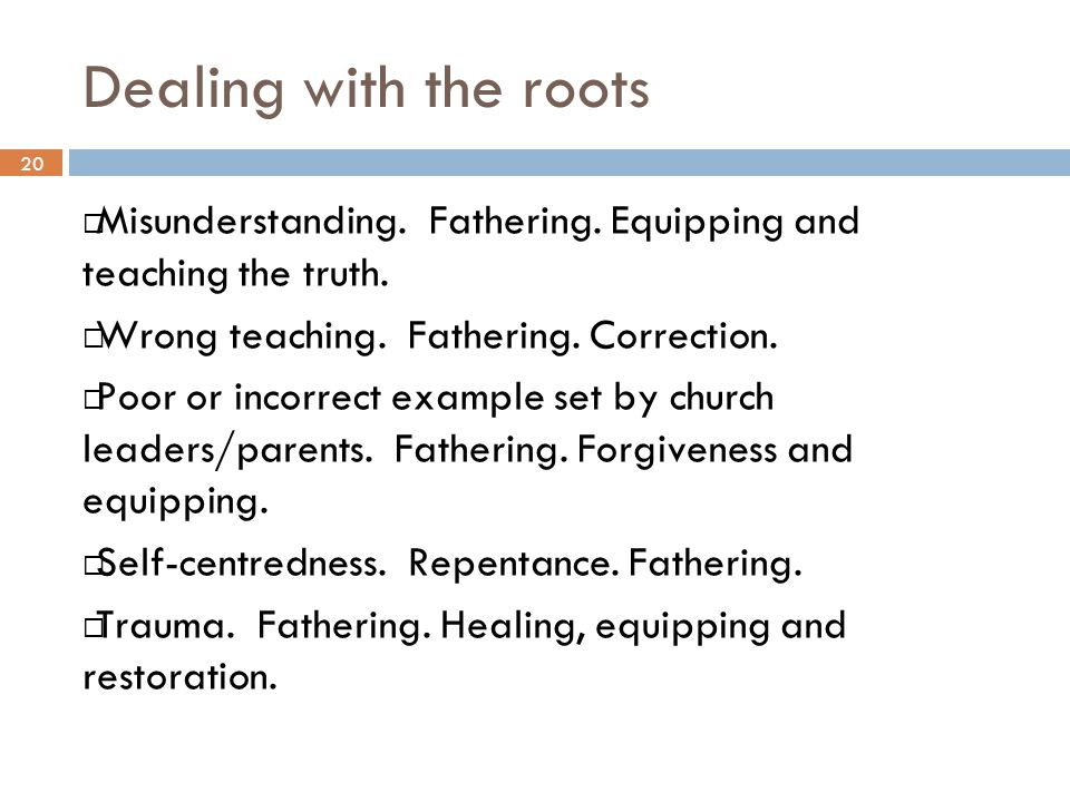 Dealing with the roots 20. Misunderstanding. Fathering. Equipping and teaching the truth. Wrong teaching. Fathering. Correction.