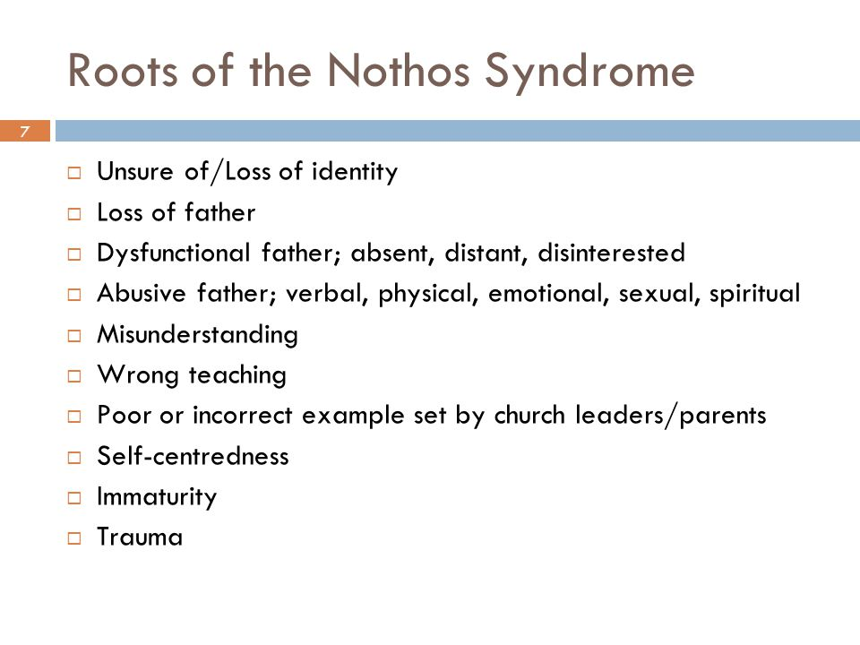 Roots of the Nothos Syndrome