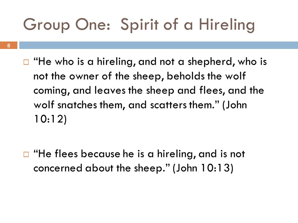 Group One: Spirit of a Hireling