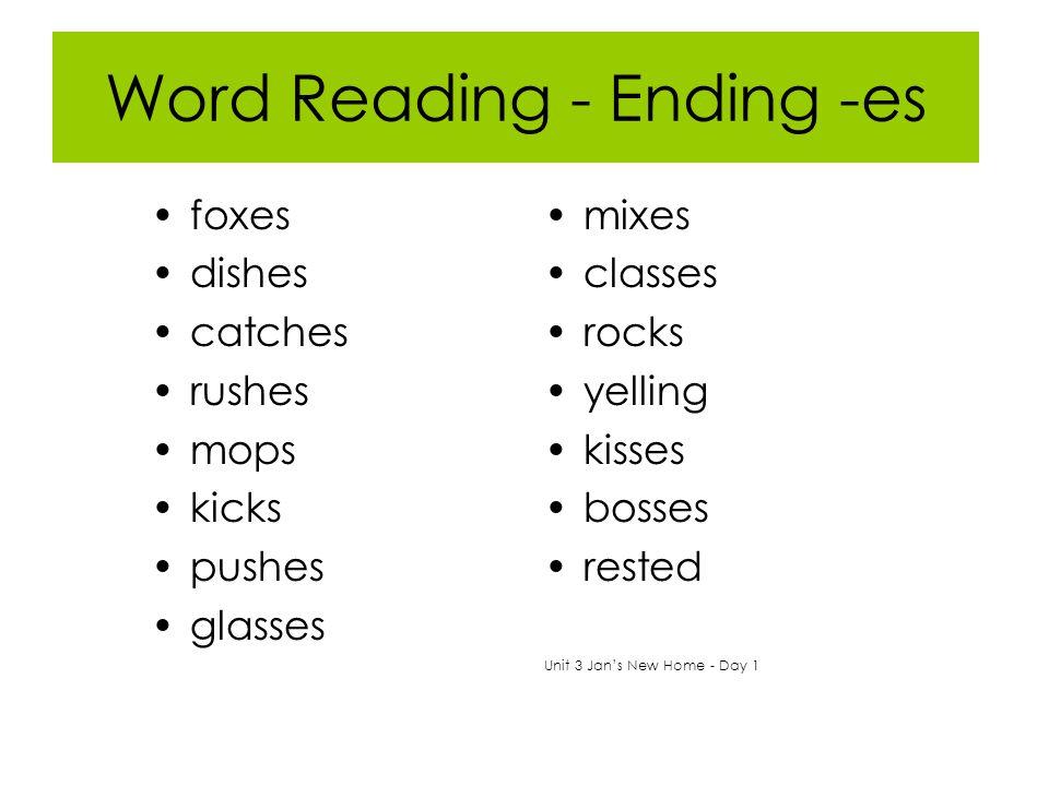 Word Reading - Ending -es