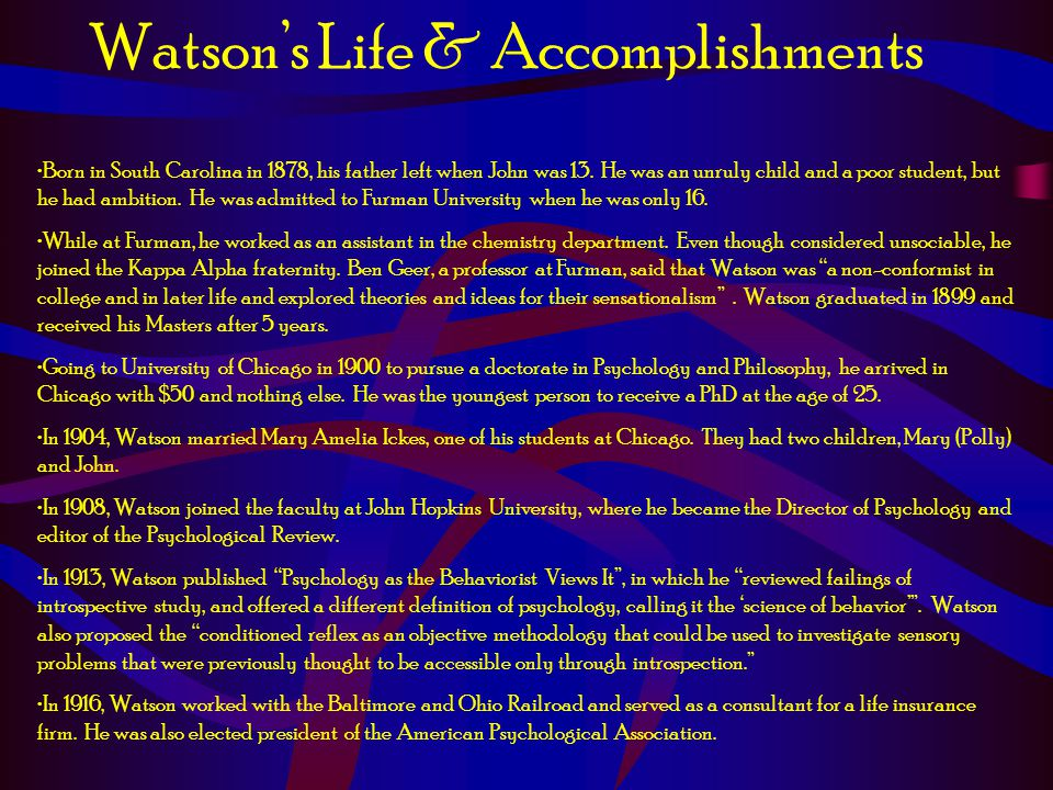 Watson's Life & Accomplishments