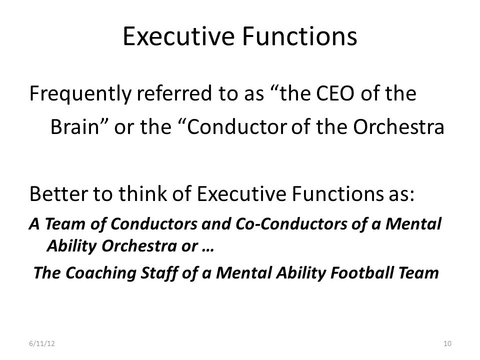 Executive Functions Frequently referred to as the CEO of the