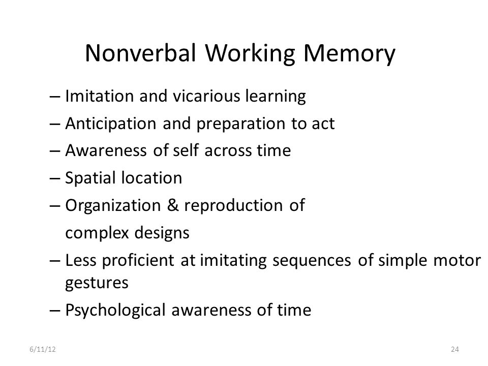 Nonverbal Working Memory