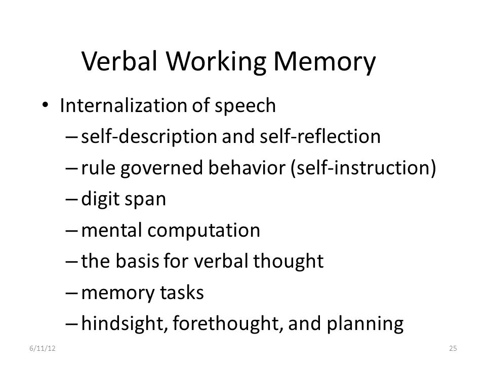Verbal Working Memory Internalization of speech