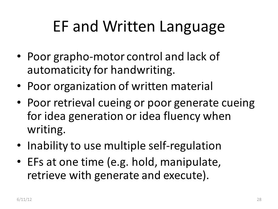 EF and Written Language